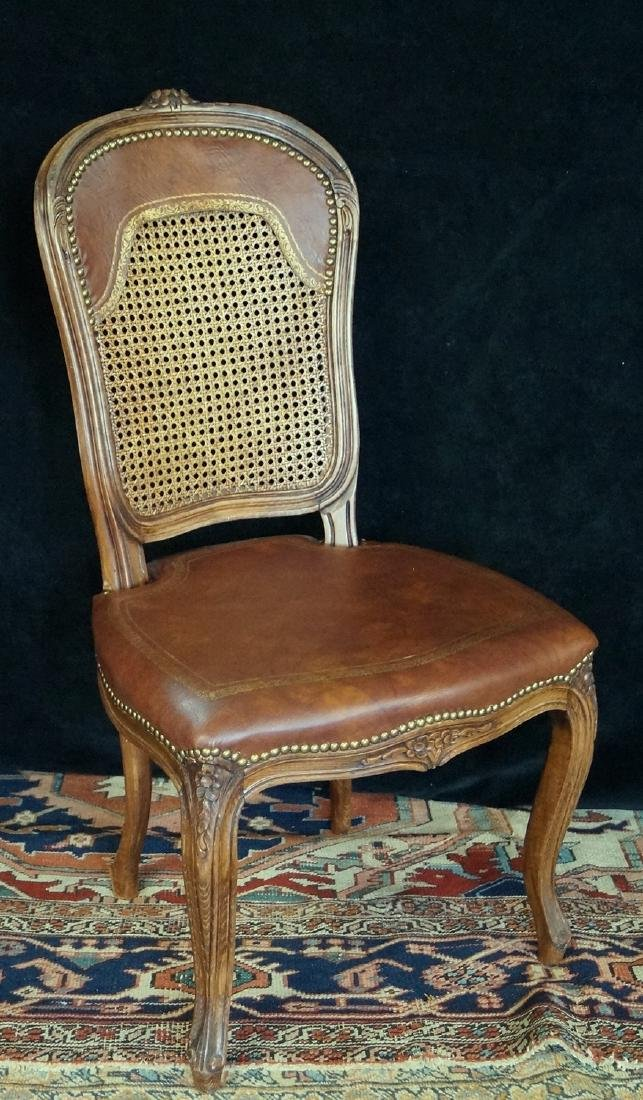 LOUIS XVI STYLE XV STYLE CANED &  LEATHER SIDE CHAIR