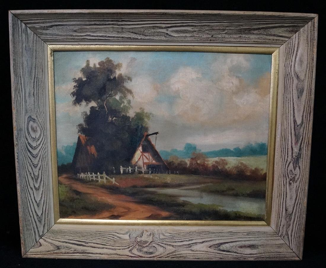 """OIL ON CANVAS SGN. INDISTINCTLY """"LANDSCAPE WITH"""