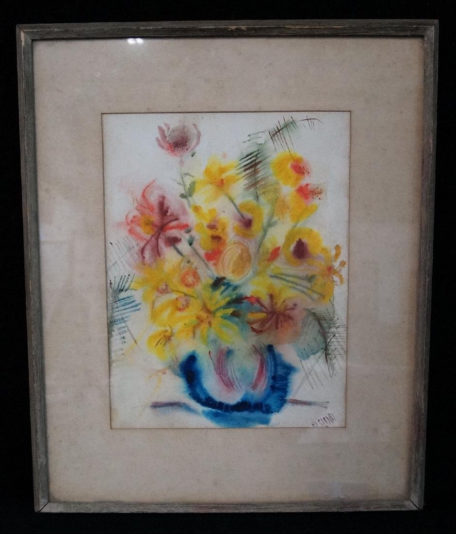 """WATERCOLOR """"STILL LIFE WITH FLOWERS"""" SGN. ISRAELI"""