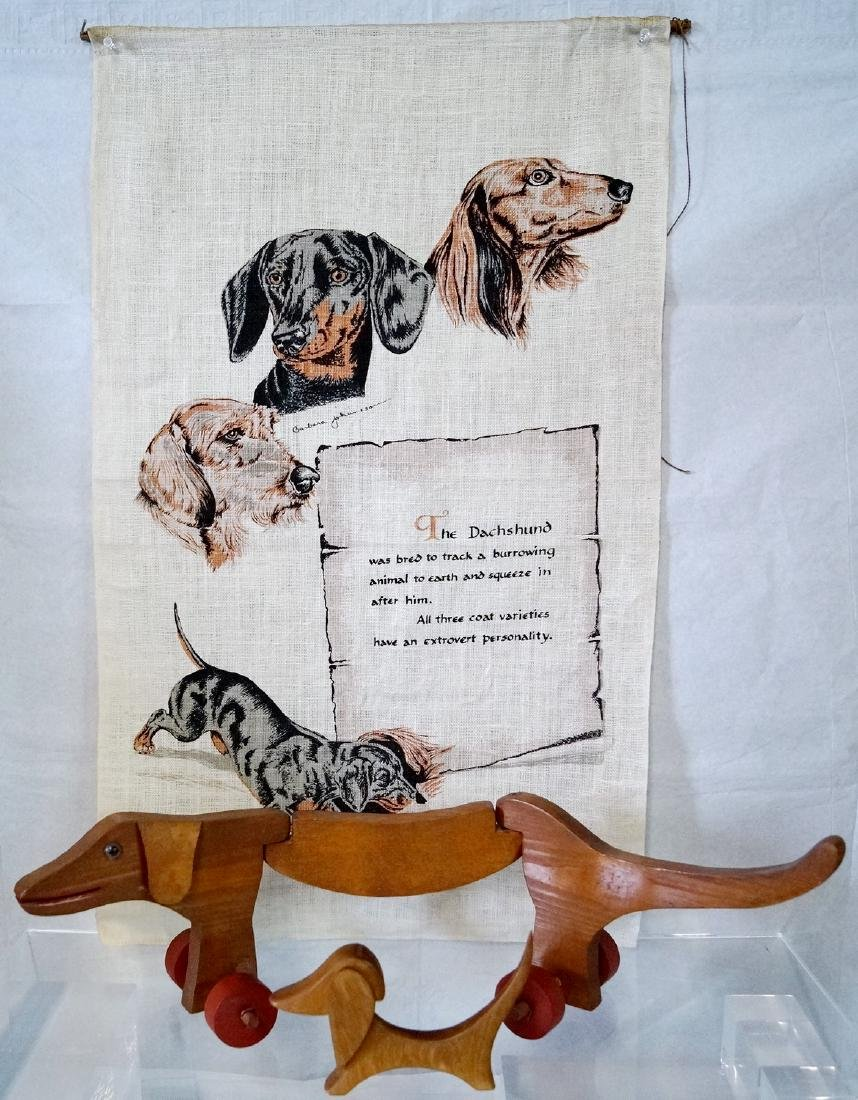 2 WOOD DACHSHOUNDS & WALL HANGING