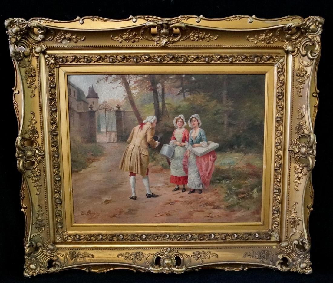 """L. BERGER SGN. 19TH C. OIL ON CANVAS """"2 LADIES AND A"""
