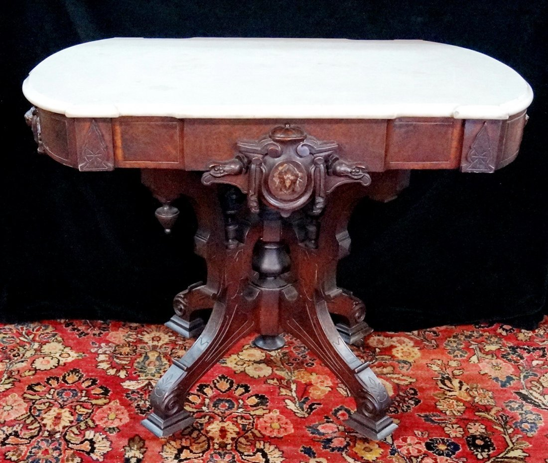"""VICTORIAN WALNUT CARVED MARBLE TOP CENTERTABLE 30""""H"""