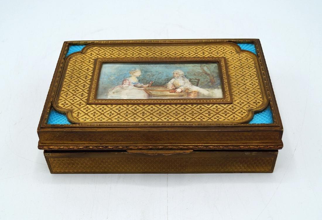 FRENCH BRONZE & ENAMEL BOX W/MINIATURE PORTRAIT
