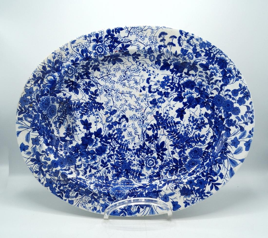 BROWN WESTBEND MOORE & CO BLUE & WHITE PLATTER