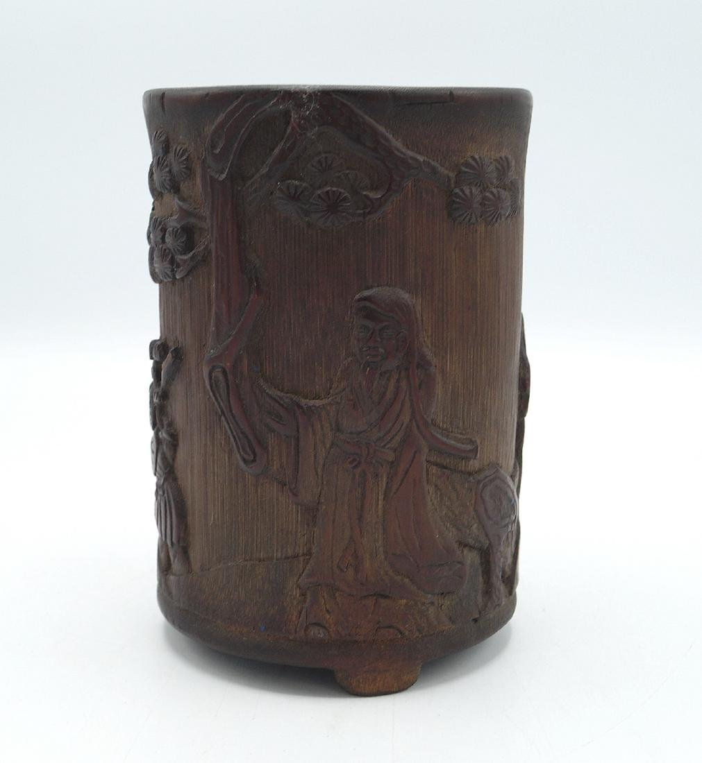 ASIAN CARVED BAMBOO BRUSH POT