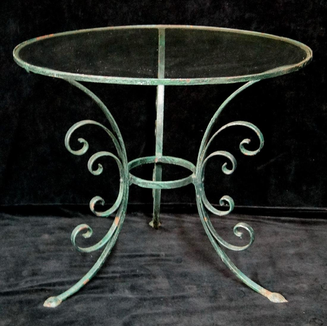 WROUGHT IRON CIRCULAR GLASS TOP TABLE