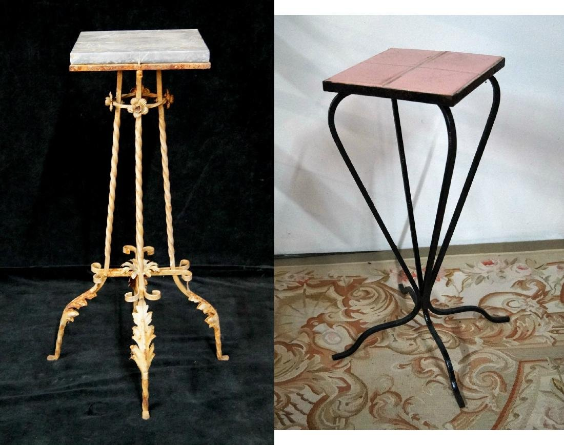 2 WROUGHT  IRON STANDS  (1 MARBLE TOP & 1 TILE TOP)