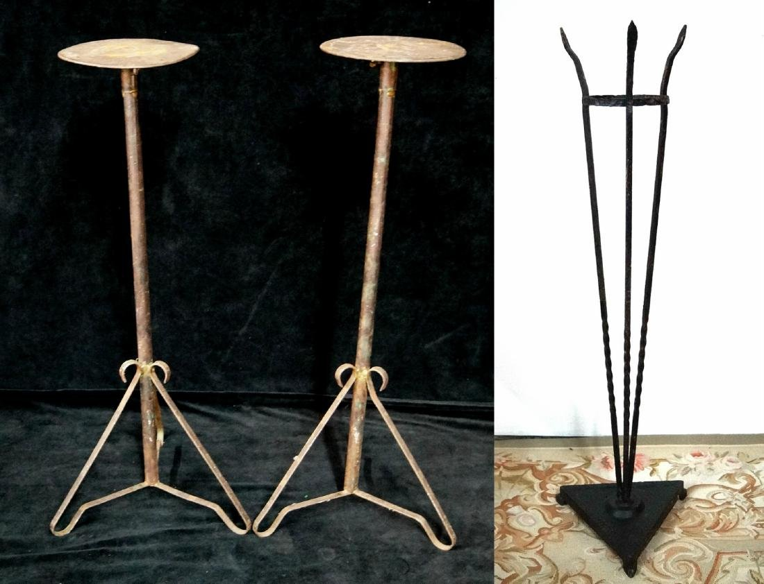 3 VINTAGE WROUGHT IRON FERN STANDS