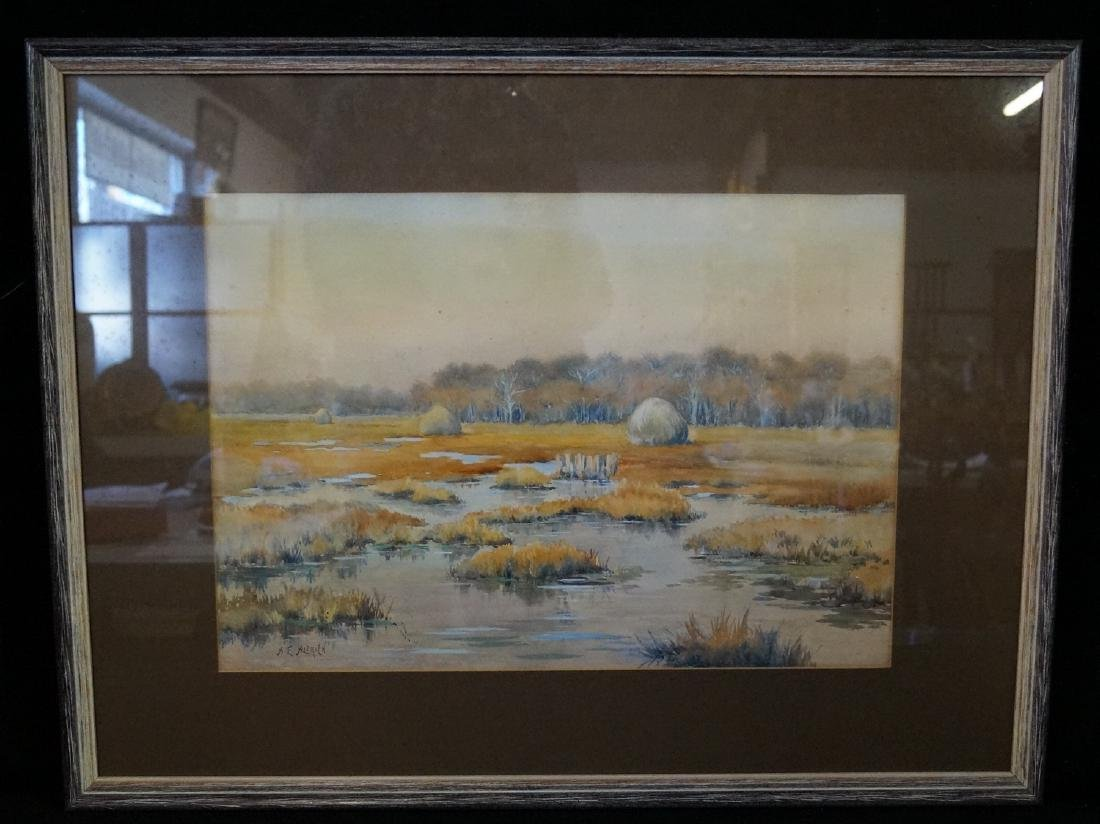 "A.E. ALDRICH FRAMED WATERCOLOR ""MARSHES"""