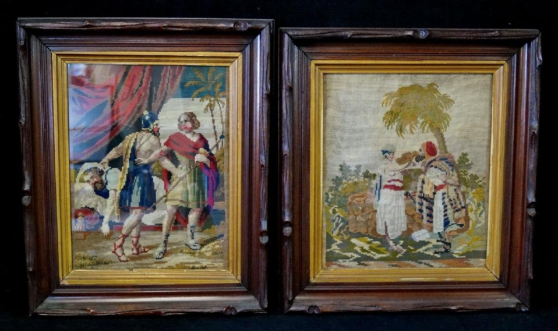 2 VICTORIAN FRAMED NEEDLEPOINTS  EACH APPRX.