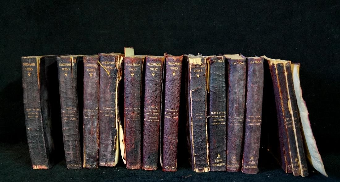 "LOT 19TH C. LEATHER BOUND BOOKS ""SHAKESPEARE"""