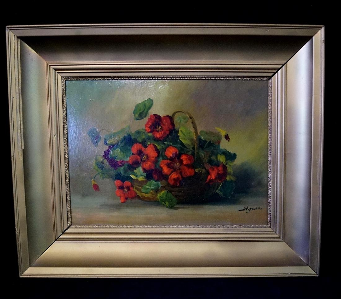 "YARDEN (?) OIL ON BOARD ""BASKET OF FLOWERS"""