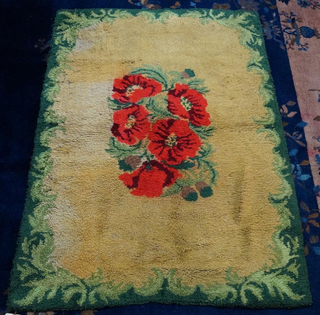 HOOKED RUG GREEN WITH ROSES