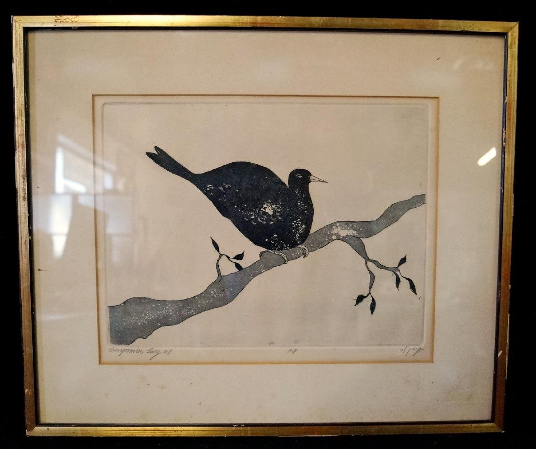 BENJAMIN LEVY HAND COLORED ETCHING