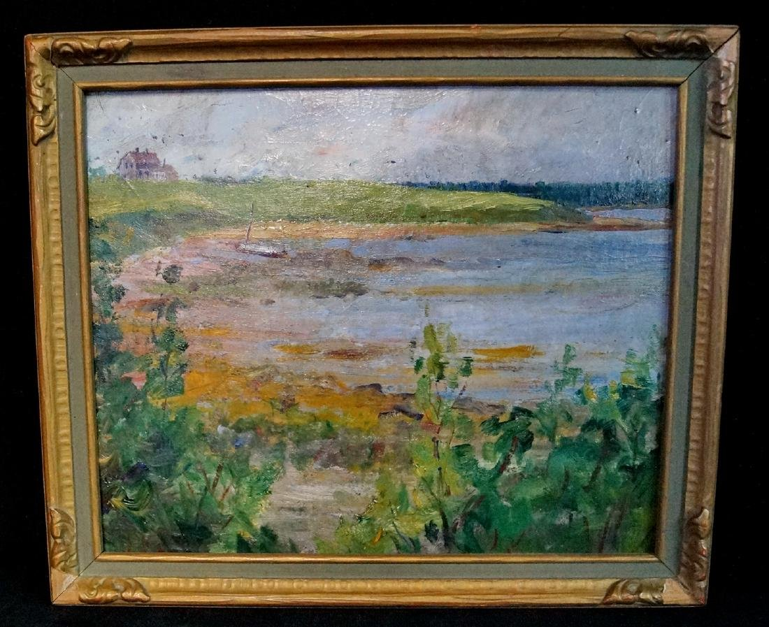 "OIL ON BOARD ""SHORE SCENE"" UNSIGNED"