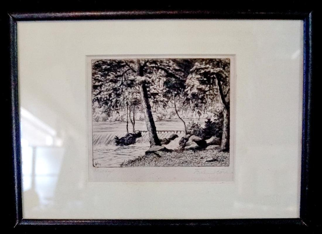"""ETCHING SGN. BON """"LANDSCAPE WITH WATERFALL"""""""