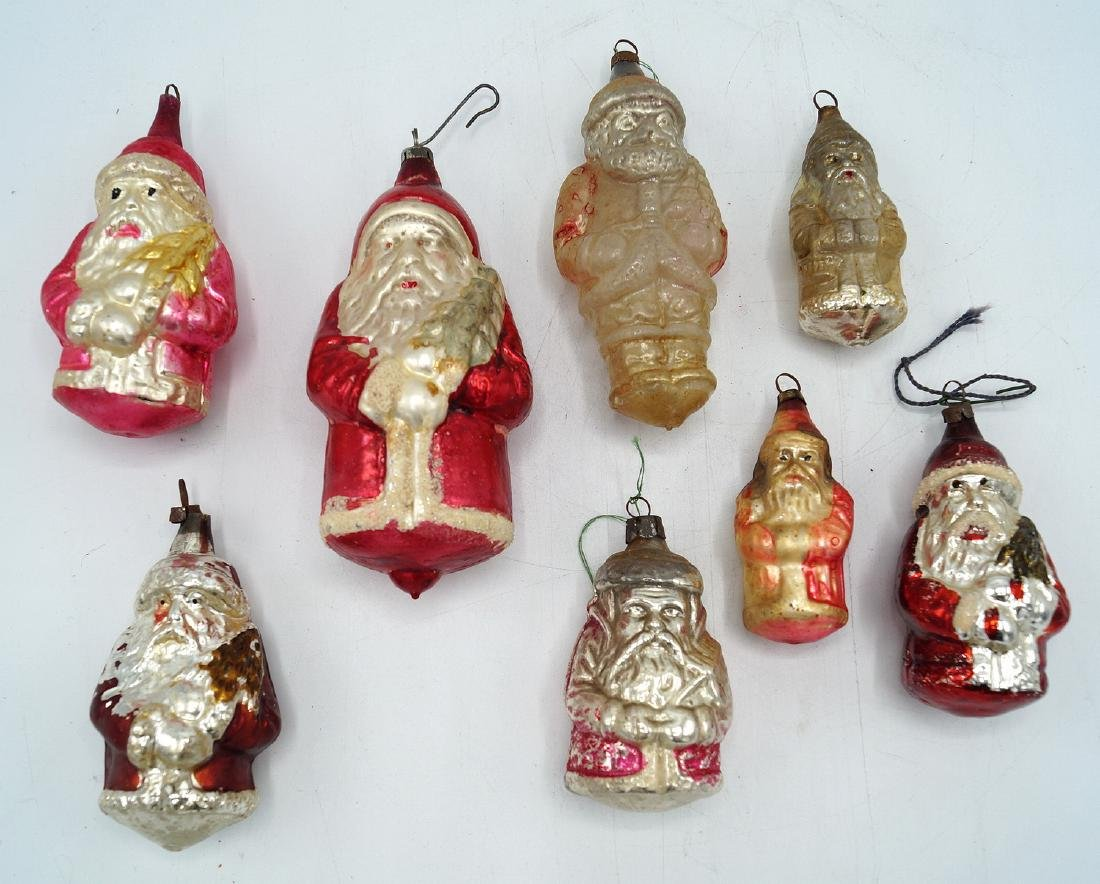 LOT OF  8 VINTAGE SANTA CLAUS ORNAMENTS