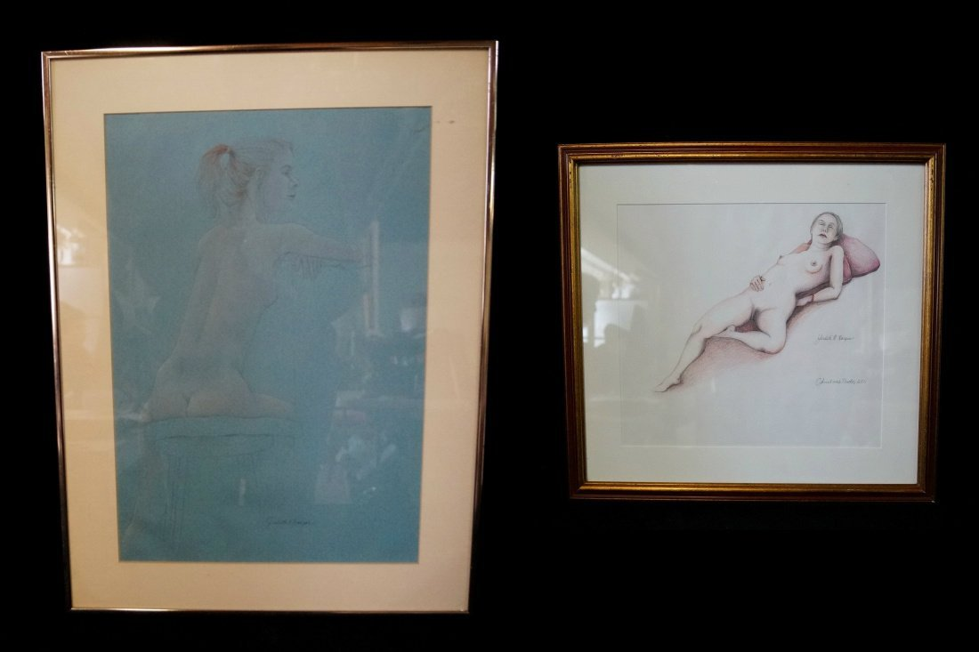 "2 DRAWINGS: ""NUDE STUDIES""  JUDITH HARPER"