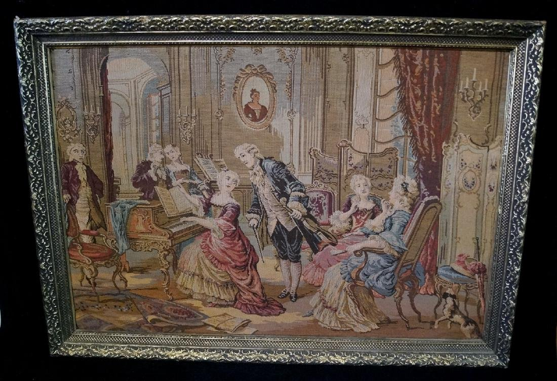 "GILT FRAME ""FRENCH INTERIOR"" MACHINE MADE TAPESTRY"