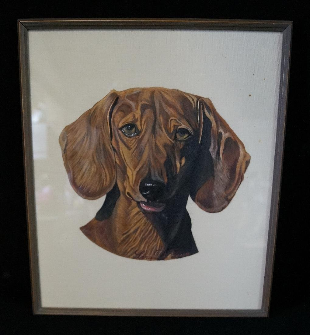 "LARA DI PRESA SGN. PAINTING ON FABRIC ""DACHSHUND"""