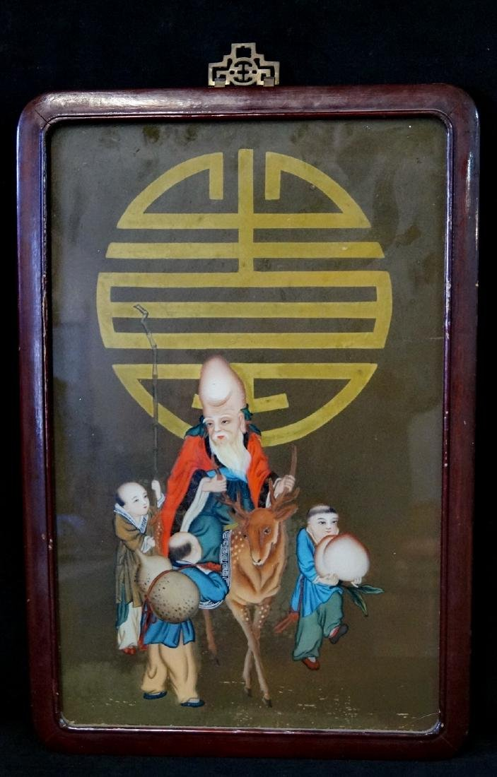 ASIAN REVERSE PAINTED GLASS