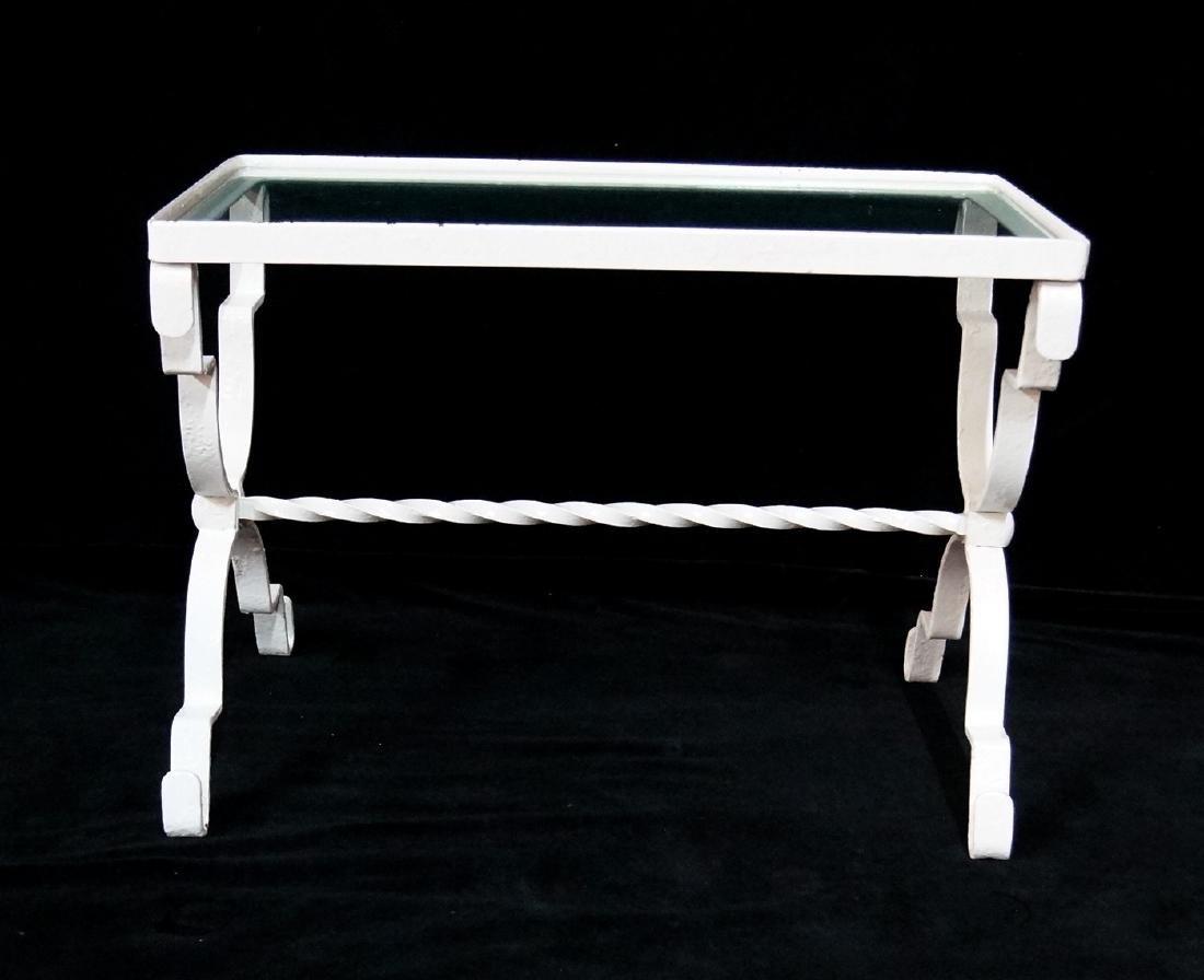 WROUGHT IRON GLASS TOP WHITE RECTANGULAR TABLE