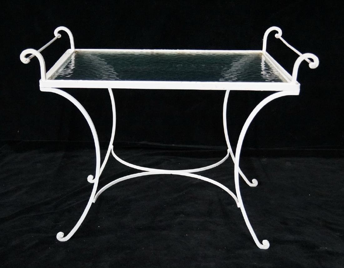 WROUGHT IRON & GLASS  TRAY TOP TABLE