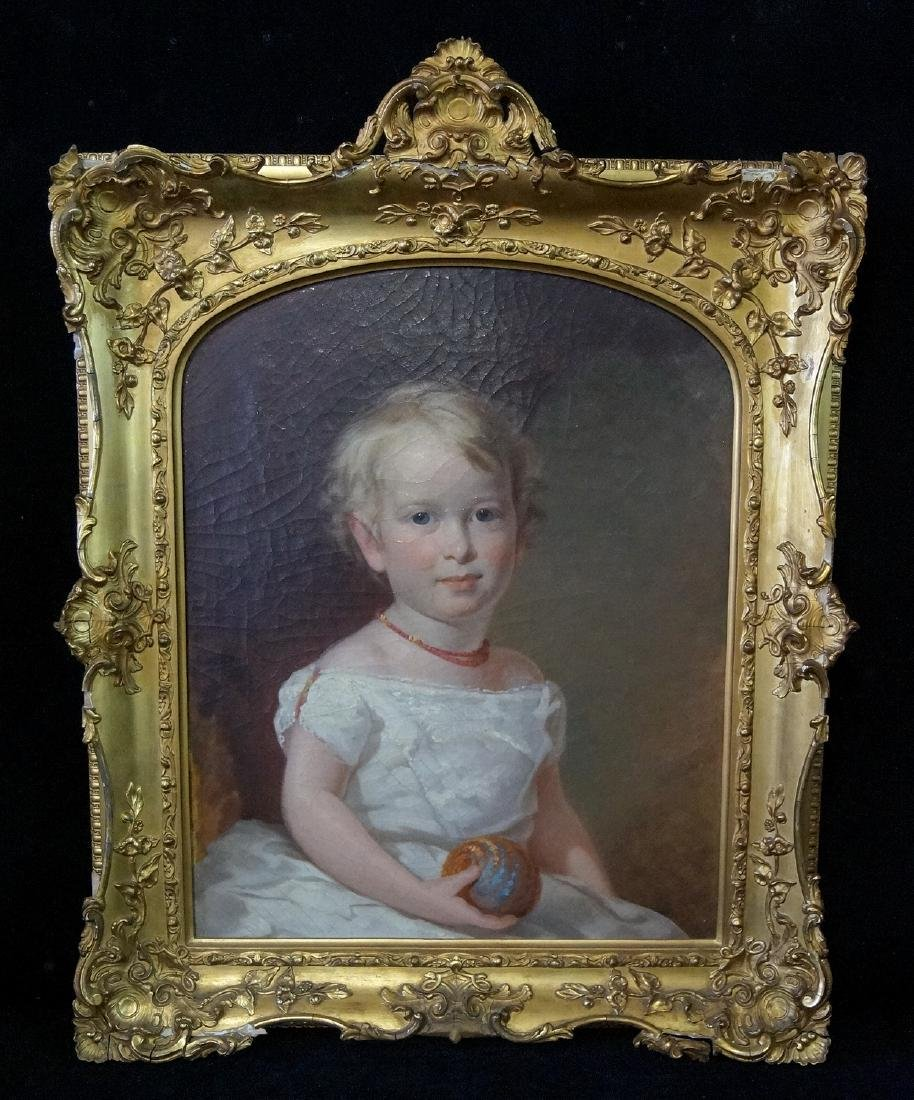 19TH C. GILT FRAME PORTRAIT OF A GIRL