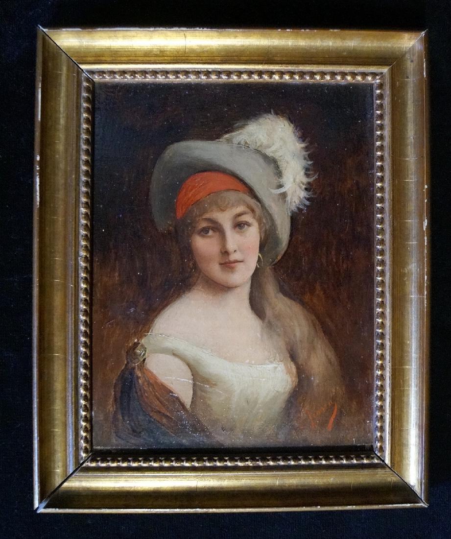 HENNER SGN 19TH C. OIL ON BOARD PORTRAIT OF A WOMAN