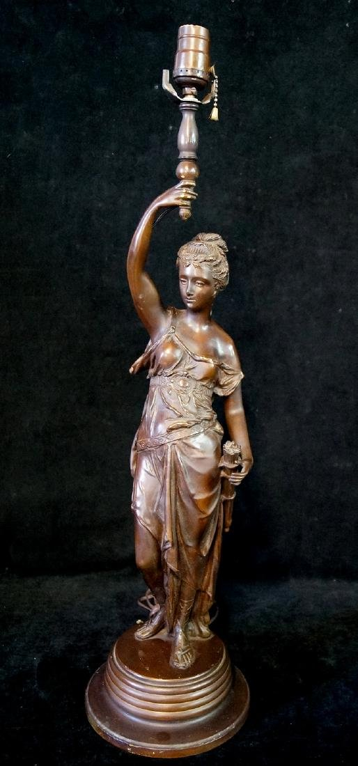 BRONZE FIGURAL FEMALE LAMP