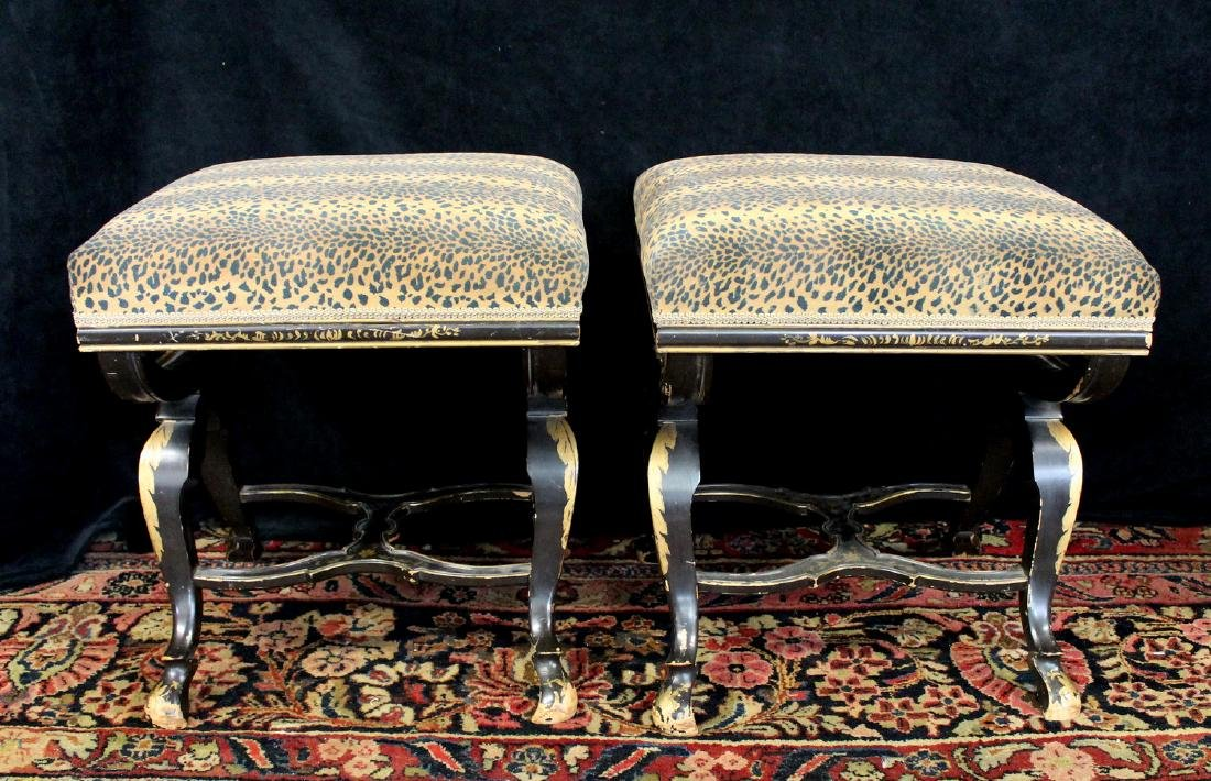 PR. REGENCY STYLE FAUX LEOPARD UPHOLSTERED BENCHES