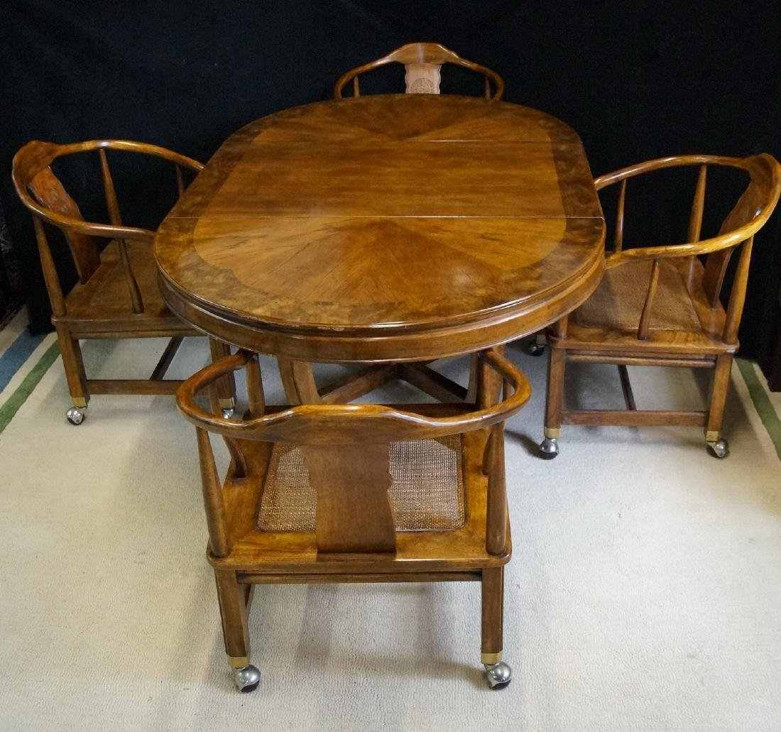 5 PC. ASIAN STYLE DINING ROOM SET TABLE & 4 CHAIRS - 2