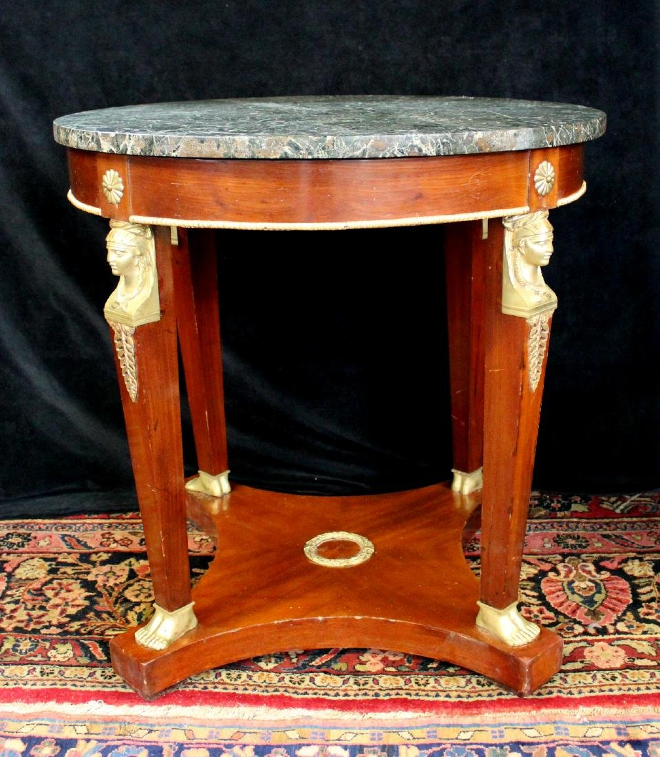 EMPIRE STYLE BRONZE MOUNTED MARBLE TOP CENTER TABLE