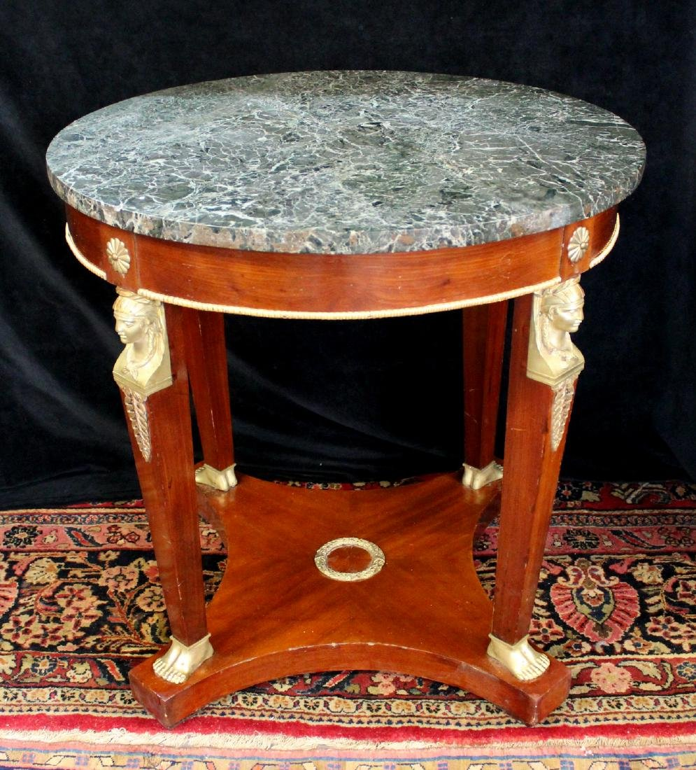 EMPIRE STYLE BRONZE MOUNTED MARBLE TOP CENTER TABLE - 2