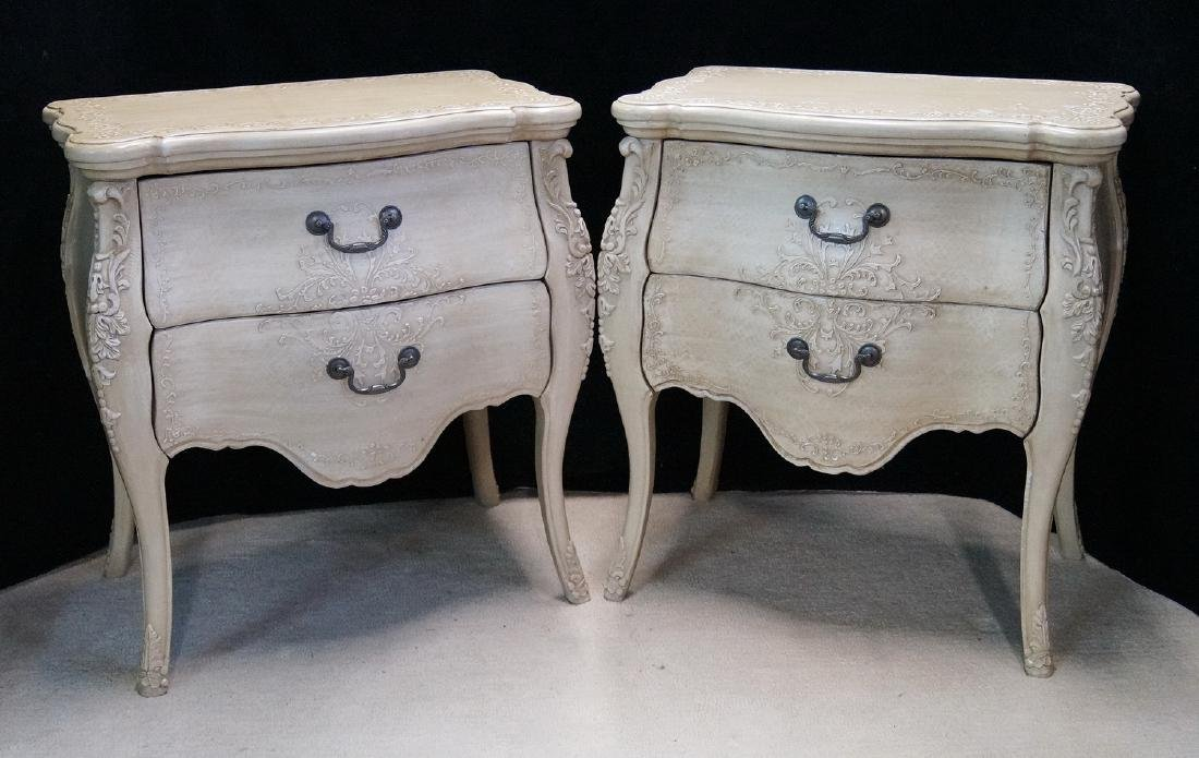 PR. LOUIS XV STYLE PAINT DECORATED 2 DRAWER COMMODES
