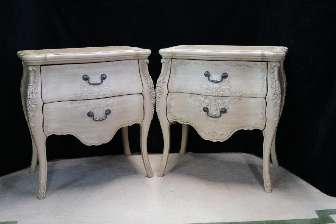 PR. LOUIS XV STYLE PAINT DECORATED 2 DRAWER COMMODES - 2