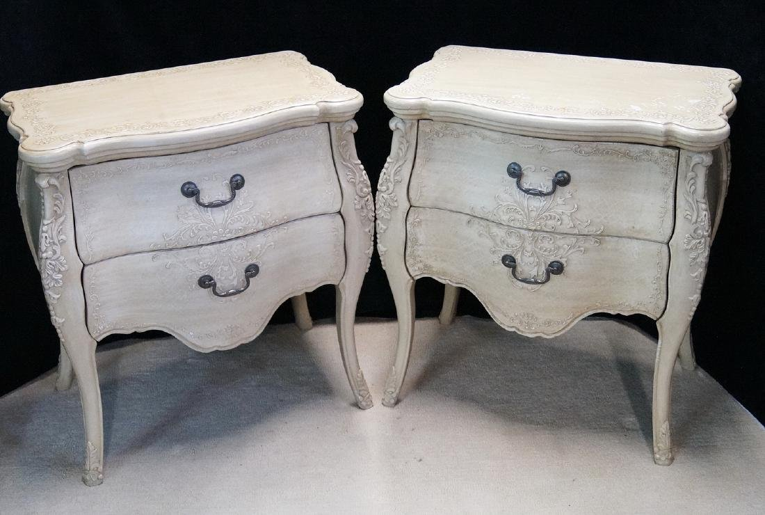 PR. LOUIS XV STYLE PAINT DECORATED 2 DRAWER COMMODES - 3