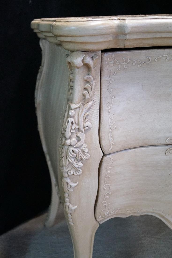 PR. LOUIS XV STYLE PAINT DECORATED 2 DRAWER COMMODES - 4