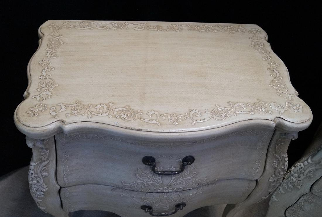 PR. LOUIS XV STYLE PAINT DECORATED 2 DRAWER COMMODES - 5