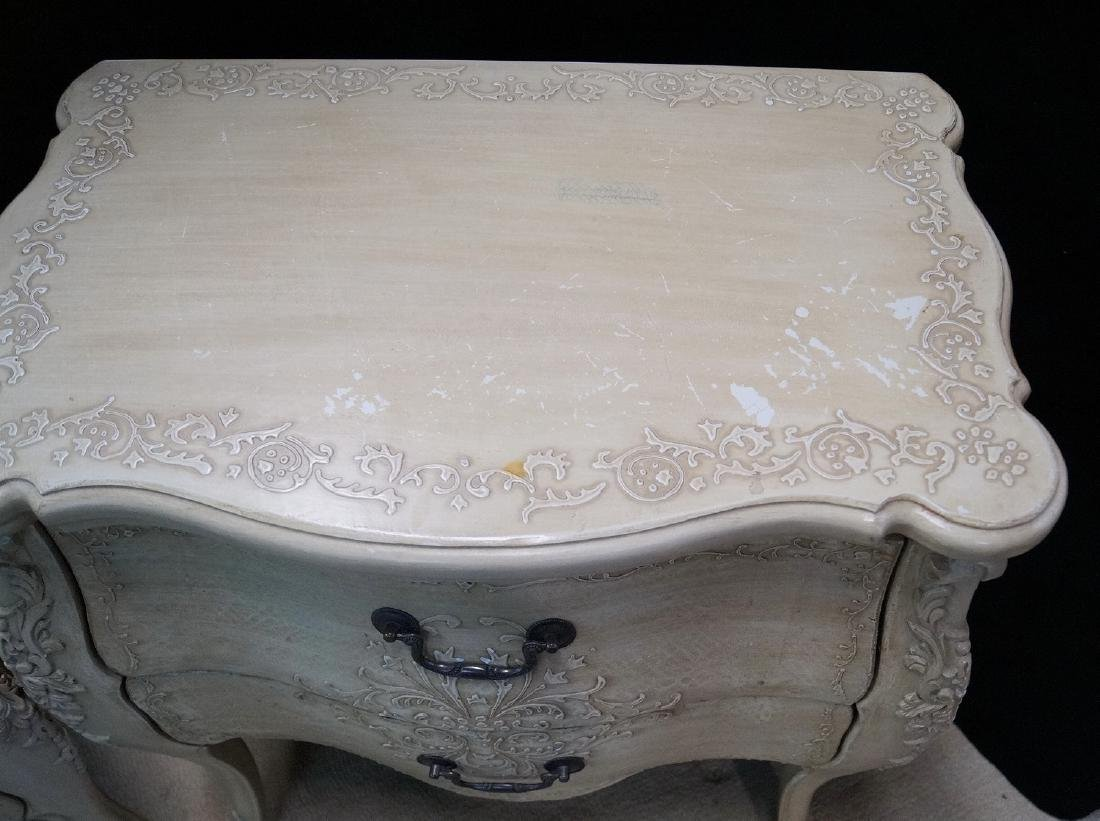 PR. LOUIS XV STYLE PAINT DECORATED 2 DRAWER COMMODES - 6