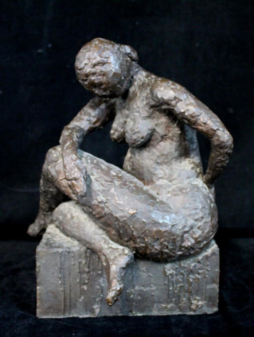 BRONZE FIGURE: SEATED FEMALE
