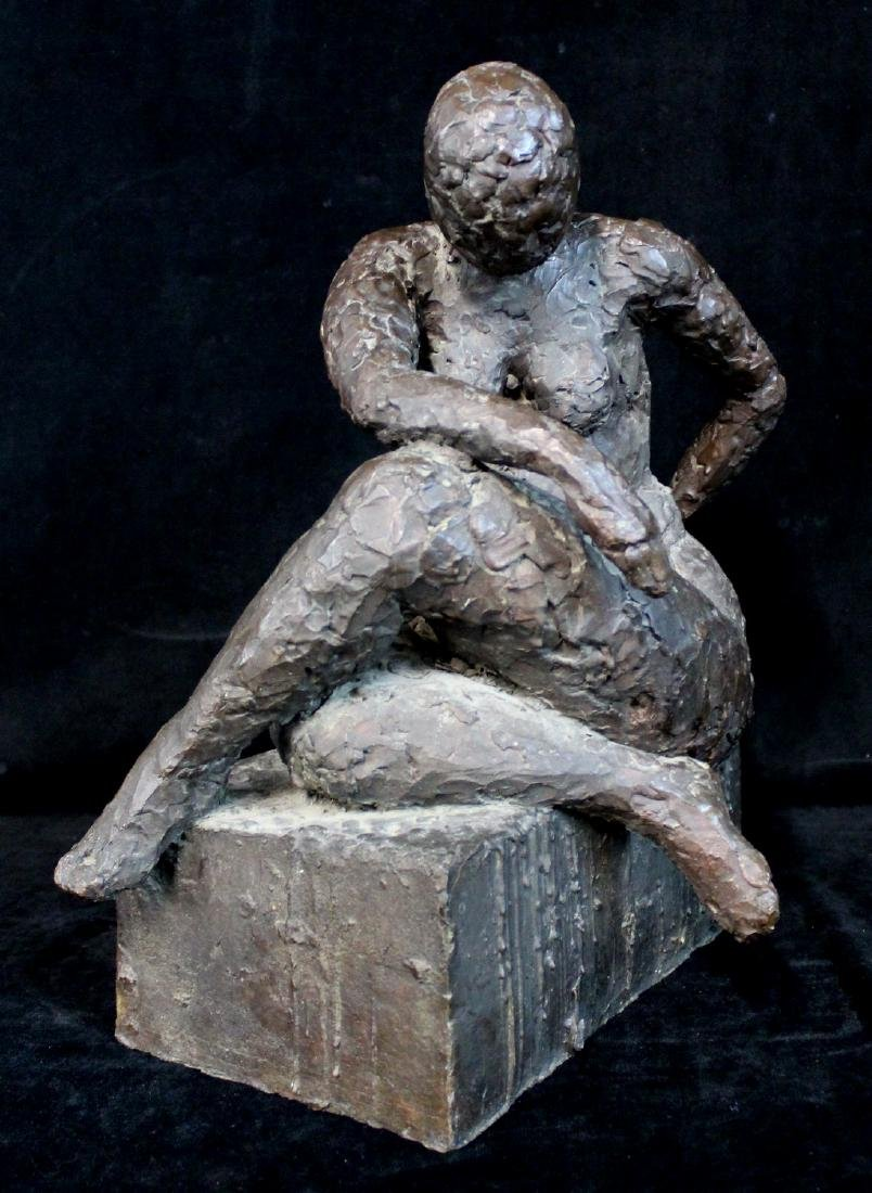BRONZE FIGURE: SEATED FEMALE - 2