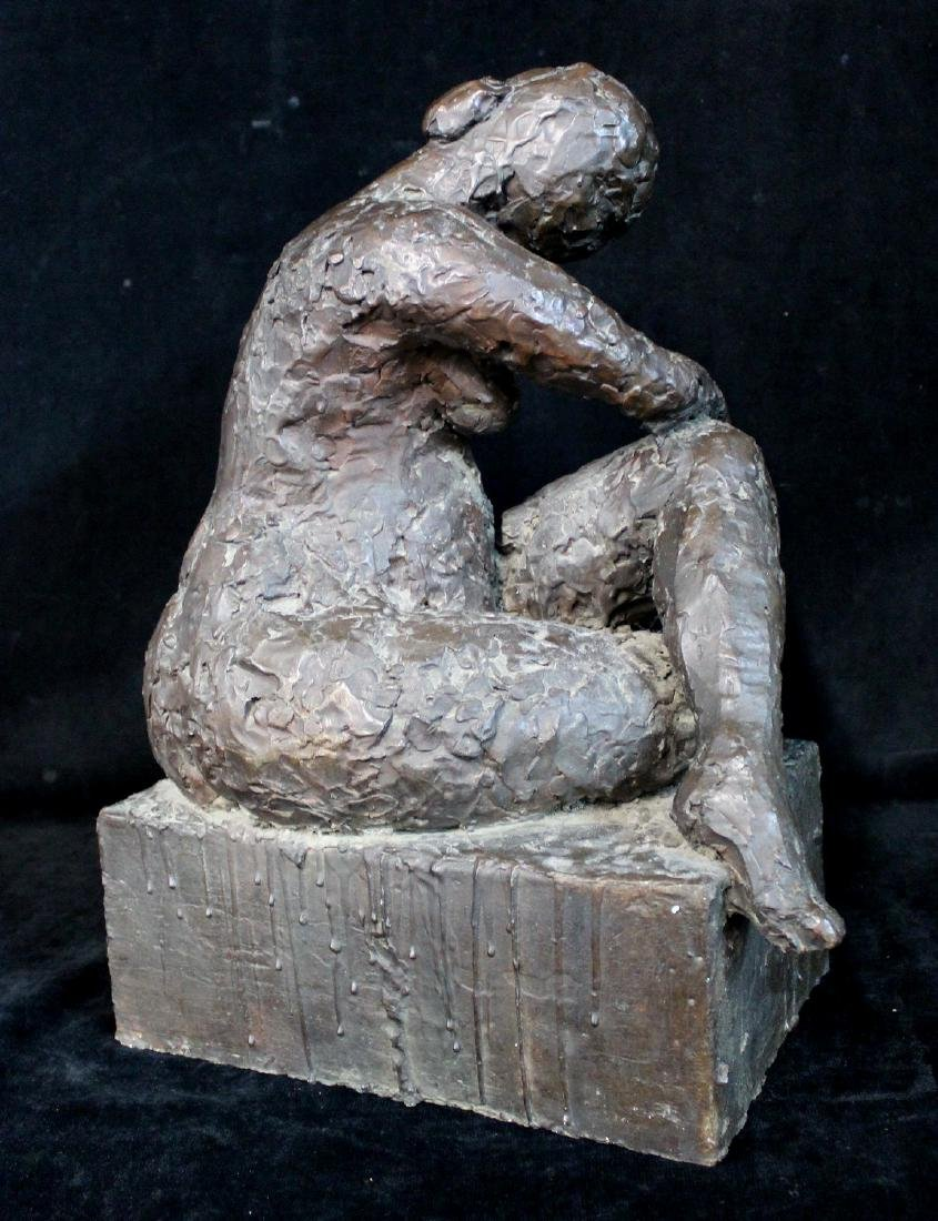 BRONZE FIGURE: SEATED FEMALE - 3