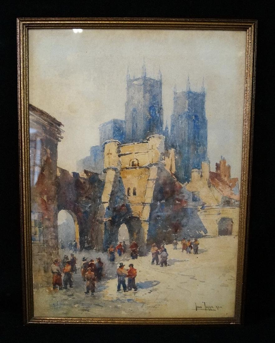 TERRIS SGN. WATERCOLOR CITY SCENE WITH CATHEDRAL