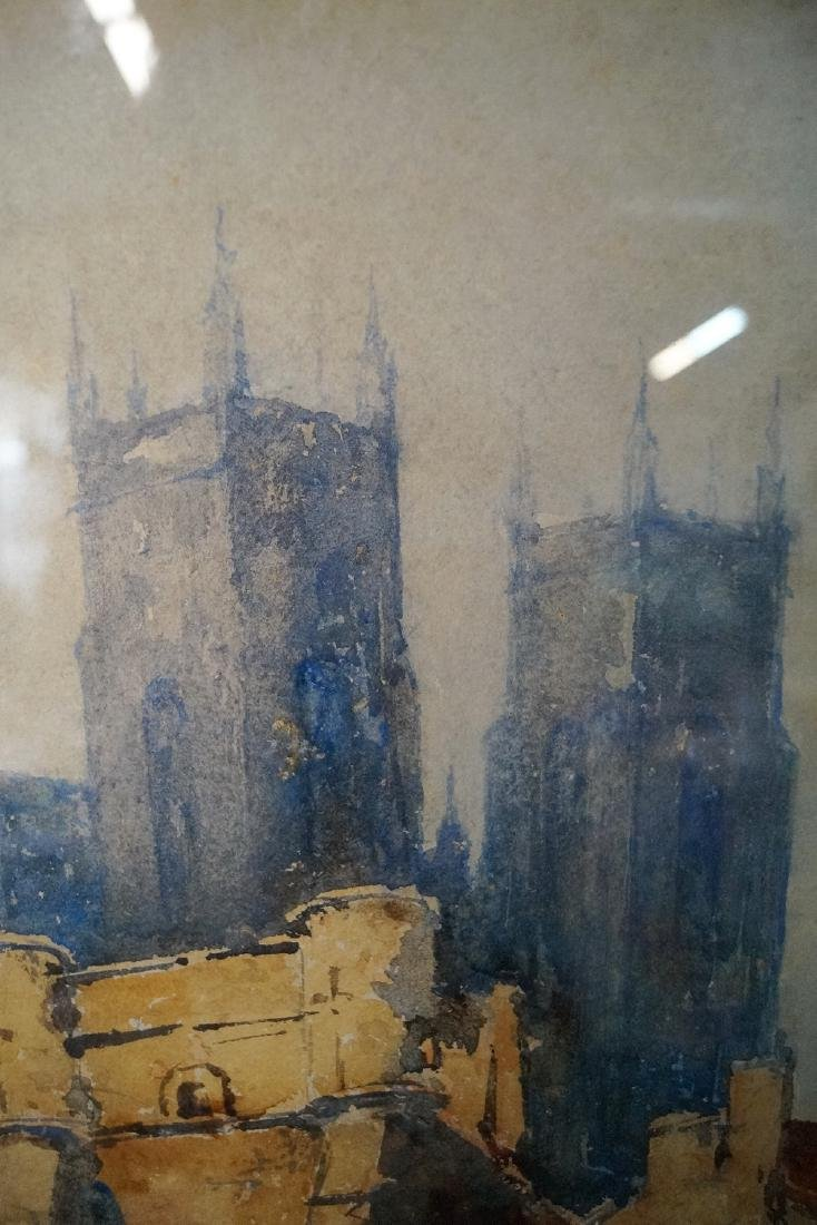 TERRIS SGN. WATERCOLOR CITY SCENE WITH CATHEDRAL - 4