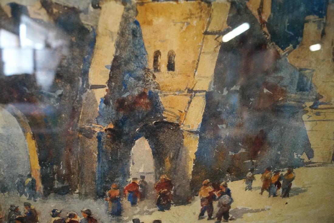 TERRIS SGN. WATERCOLOR CITY SCENE WITH CATHEDRAL - 5