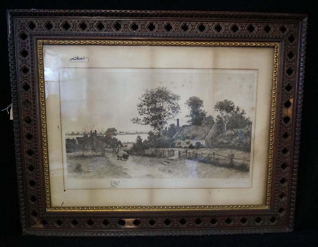 """19TH C. PRINT SGN. INDISTINCTLY """"PASTORAL SCENE WITH"""