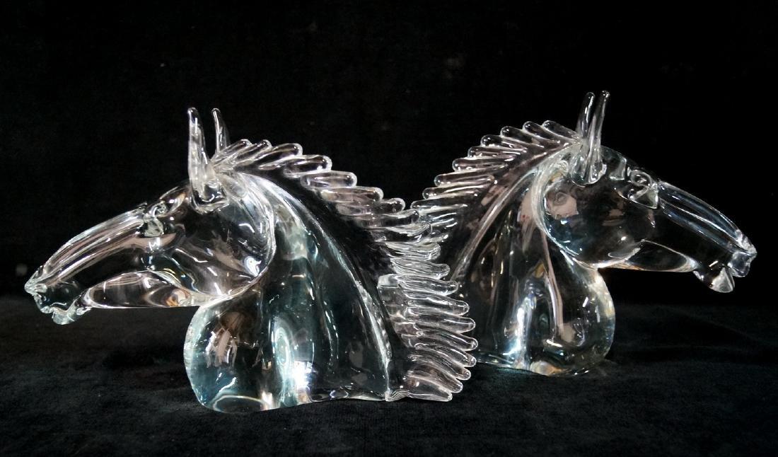 PR. HORSE FIGURAL CRYSTAL BOOKENDS