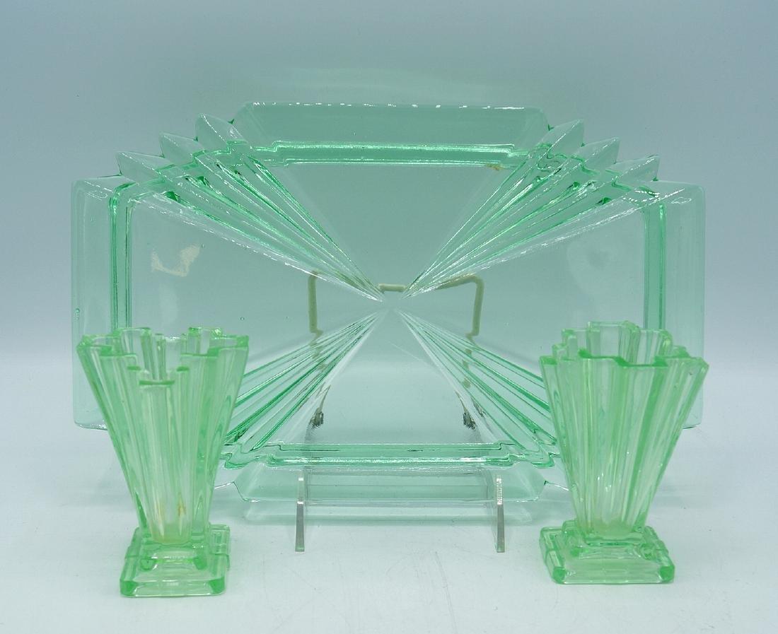 3 PC. ART DECO GLASS CONSOLE SET