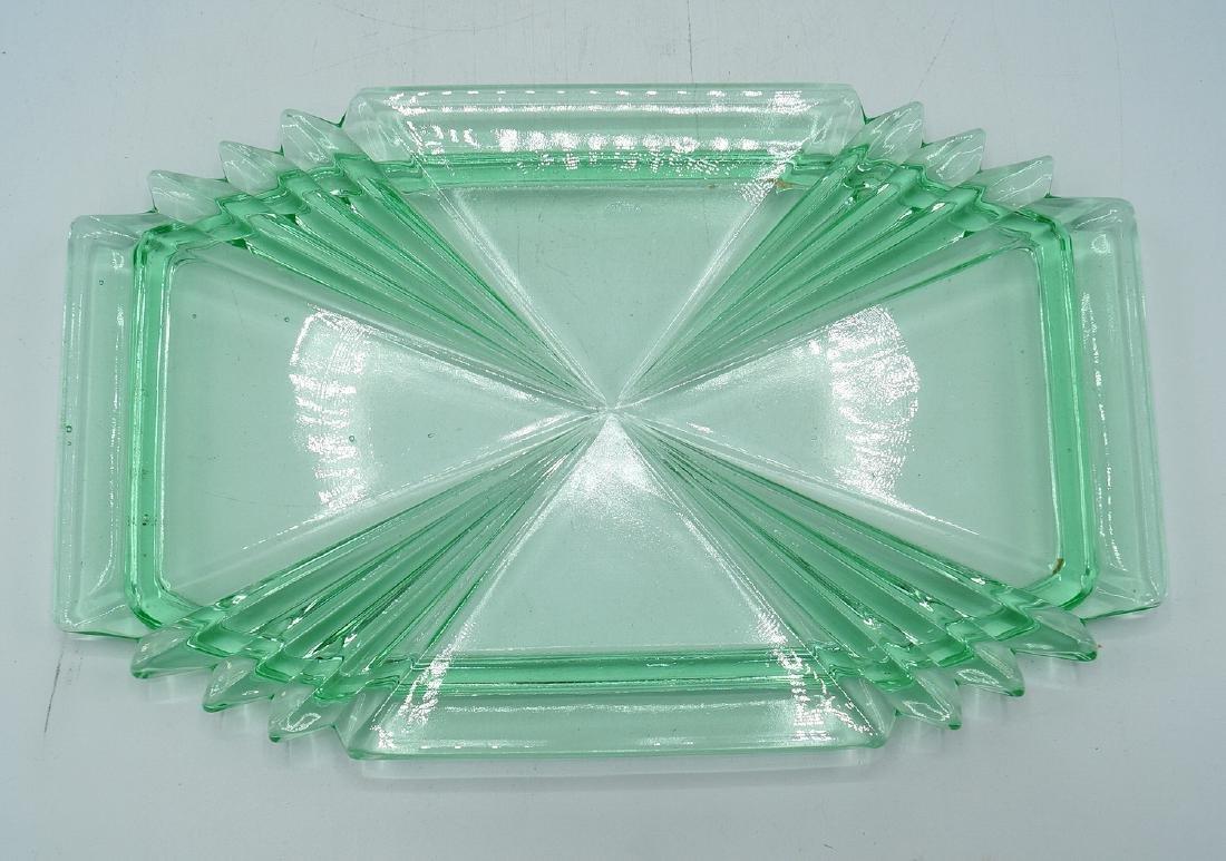 3 PC. ART DECO GLASS CONSOLE SET - 2